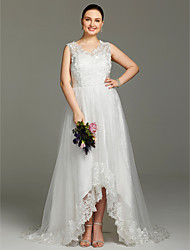 Trapèze Col en V Asymétrique Dentelle Tulle Robe de mariée avec Appliques par LAN TING BRIDE®