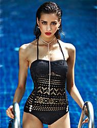 Femme Push-Up Licou Bikinis Couleur Pleine,Polyester Solide