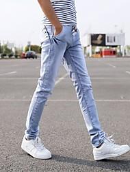 Homme Chinoiserie Taille Normale Micro-élastique Droite Pantalon,Droite Toile de jean Couleur Pleine