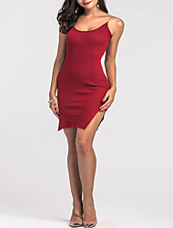Women's Party Going out Club Sexy Bodycon Sheath Dress,Solid V Neck Above Knee Sleeveless Mercerized Cotton All Seasons High Rise Stretchy