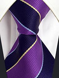 CXL31 Fashion Classic Extra Long 63 Business Men Neckties Purple Blue Stripes 100% Silk Unique Handmade