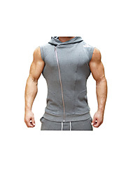 Men's Running Tank Breathability Comfortable Casual/Daily Vest/Gilet Top for Running/Jogging Exercise & Fitness Cotton Slim Black Dark