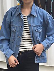 Veste en jean Femme,Couleur Pleine Quotidien Contemporain Automne Manches longues Col de Chemise Normal Autres