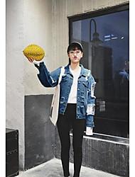 Giacca di jeans Da donna Quotidiano Contemporaneo Primavera/Autunno,Tinta unita Colletto Jeans Standard Manica lunga