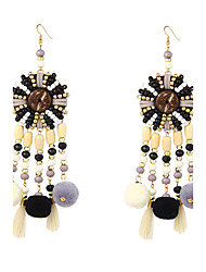 Exaggerated Bohemian Beaded Tassel Earrings with Pom Pom Drop for Women