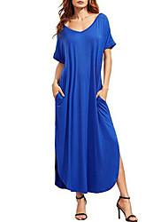 Для женщин На каждый день Простое Свободный силуэт Платье Однотонный,V-образный вырез Макси С короткими рукавами Хлопок ЛетоСо