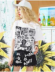 Damen Solide Druck Zitate & Sprüche Einfach Alltag Normal T-shirt,Rundhalsausschnitt Kurzarm Baumwolle Viskose