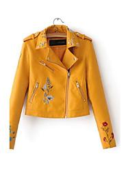 Для женщин Спорт На выход Весна Осень Кожаные куртки Лацкан с тупым углом,Простой Уличный стиль Панк & Готика Однотонный ОбычнаяДлинный