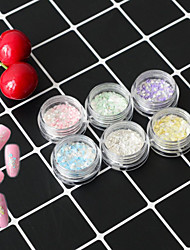 6Bottles/Set Summer Fashion Nail Art Irregular Flake Powder Sea Beach Candy Colors Holographic Glitter Paillette Colorful Decoration Nail DIY Beauty