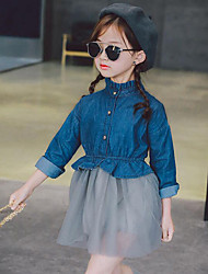 Girl's Patchwork Dress,Cotton Rayon Polyester Spring Fall Long Sleeve