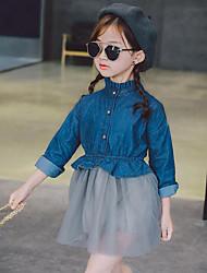 Vestido Chica de Retazos Algodón Rayón Poliéster Manga Larga Primavera Otoño