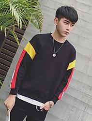 Men's Casual/Daily Sweatshirt Color Block Hooded Micro-elastic Cotton Long Sleeve Spring Summer