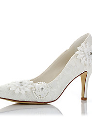 Damen High Heels Pumps Spitze Satin Herbst Winter Hochzeit Kleid Party & Festivität Pumps Applikation Stöckelabsatz Elfenbein 7,5 - 9,5 cm