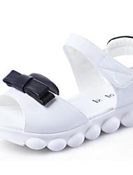 Girls' Flats Comfort PU Spring Fall Casual Walking Comfort Magic Tape Low Heel Black White Flat
