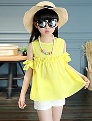 Для девочек Наборы Смесь хлопка Мода Однотонные Вышивка Лето С короткими рукавами Набор одежды
