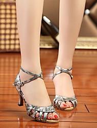 Damen Tanz-Turnschuh PU Sandalen Sneakers Innen Blockabsatz Gold Grau 5 - 6,8 cm