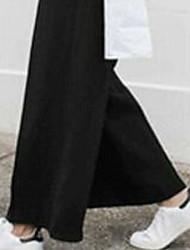 Для женщин Chinoiserie Слабоэластичная Широкие Брюки,Завышенная Широкие Чистый цвет Однотонный