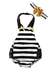 Baby Romper with Headband Stripes One-Pieces Cotton Summer Sleeveless Kids Jumpsuits Bodysuits