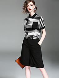 Mujer Chic de Calle Casual/Diario Verano Otoño T-Shirt Pantalón Trajes,Escote Chino A Rayas Manga Corta Microelástico