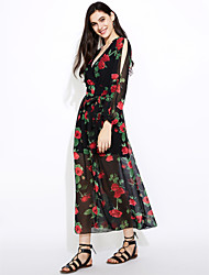 Women's Formal Going out Casual/Daily Vintage Simple Street chic Loose Swing Dress,Floral Deep V Maxi Long Sleeve Polyester SummerHigh