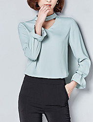 Women's Going out Simple Blouse,Solid Round Neck Long Sleeves Cotton