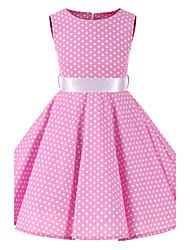 Girl's Pink White Mini Polka Dot Vintage Inspired Sleeveless 50s Rockabilly Swing Dress Cotton All Seasons