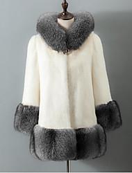 Women's Casual/Daily Simple Fall Winter Fur Coat,Solid Hooded Long Sleeve Regular Fox Fur