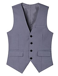 Men's Going out Work Street chic Spring Fall Vest,Solid V Neck Sleeveless Regular Cotton Polyester