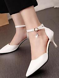 Femme Chaussures à Talons Confort Escarpin Basique Vrai cuir Polyuréthane Eté Décontracté Blanc Noir Rouge Rose 10 à 12 cm