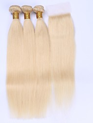 Beata Hair 613 Blonde Human Hair 3 Bundles Weft With Lace Closure Straight Unprocessed Brazilian Human Hair
