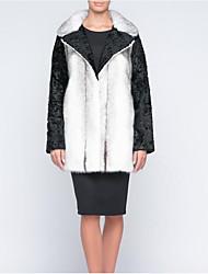 Women's Plus Size Simple Fall Winter Fur Coat,Color Block Notch Lapel Long Sleeve Long Fox Fur