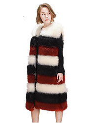 Women's Plus Size Simple Fall Winter Vest,Solid Round Neck Sleeveless Long Fox Fur