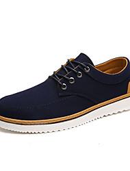 Hombre Zapatillas de deporte Confort Primavera Otoño Algodón Casual Con Cordón Tacón Plano Negro Azul Oscuro Plano