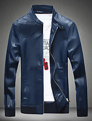 Men's Casual/Daily Simple Fall Winter Leather Jacket,Solid Round Neck Long Sleeve Regular PU