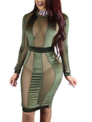 Women's Casual/Daily Club Sexy Bodycon Sheath Dress,Color Block Round Neck Knee-length Long Sleeves Polyester All Seasons High Rise