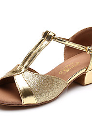 """Women's Latin Faux Leather Full Sole Practice Low Heel Blue Ruby Silver Gold Under 1"""""""