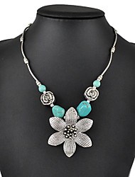Women's Pendant Necklaces Statement Necklaces Turquoise Flower Geometric Drop Jewelry Turquoise Alloy Basic Fashion Vintage Bohemian