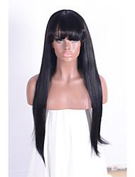 Pelucas capless brasileñas negras rectas largas naturales del pelo humano para las mujeres ningunas pelucas del cordón con las máquinas de