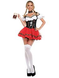 Fantasias de Cosplay Roupa Oktoberfest Fantasias Festival/Celebração Trajes da Noite das Bruxas Vermelho Vintage Vestidos Neckwear Tiaras