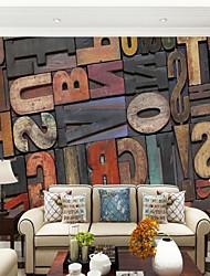 Apparence Bois Lettre et chiffre Fond d'écran pour la maison Contemporain Revêtement , Toile Matériel adhésif requis Mural , Couvre Mur