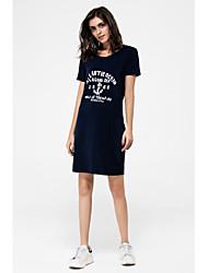 Damen Hülle T Shirt Kleid-Lässig/Alltäglich Übergröße Aktiv Druck Mit Kapuze Knielang Kurzarm Herbst Mittlere Hüfthöhe Mikro-elastisch