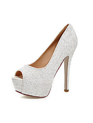 Women's Heels Comfort Novelty Summer Fall Leatherette Casual Dress Party & Evening Stiletto Heel Gold White Black Silver 5in & over
