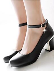 Women's Heels Comfort PU Spring Casual Blushing Pink Black White 3in-3 3/4in
