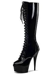 Mujer Botas Botas de Moda PU Invierno Fiesta y Noche Cremallera Tacón Stiletto Blanco Negro Gris Rojo 12 cms y Más