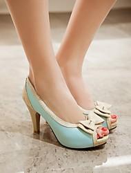 Damen Schuhe PU Sommer Komfort High Heels Blockabsatz Mit Für Normal Party & Festivität Weiß Beige Blau Rosa