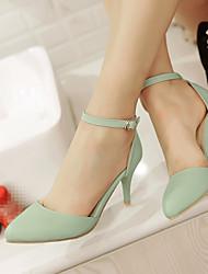 Для женщин Обувь Полиуретан Лето Удобная обувь Обувь на каблуках На шпильке Заостренный носок С Назначение Повседневные Бежевый