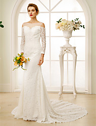 Sheath / Column Illusion Neckline Chapel Train Lace Wedding Dress with Beading Crystal Detailing by LAN TING BRIDE®