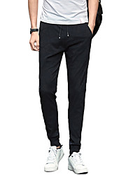 Homme simple Actif Taille Normale strenchy Skinny Chino Pantalon,Mince Couleur Pleine Jacquard