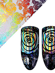 Holographic Rose Nail Foil 4*100cm Laser Starry Floral Pattern Transfer Sticker Manicure Nail Art Decoration