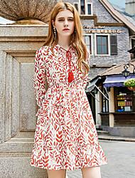 Mujer Línea A Vaina Gasa Vestido Noche Casual/Diario Simple Bonito Sofisticado,Estampado Escote en Pico Sobre la rodilla Manga Larga